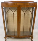 Mahogany Two Door Queen Anne Style China Display Cabinet